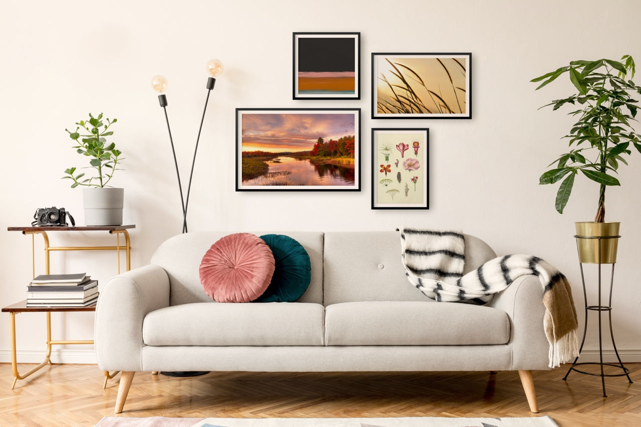 Gallery wall over sofa