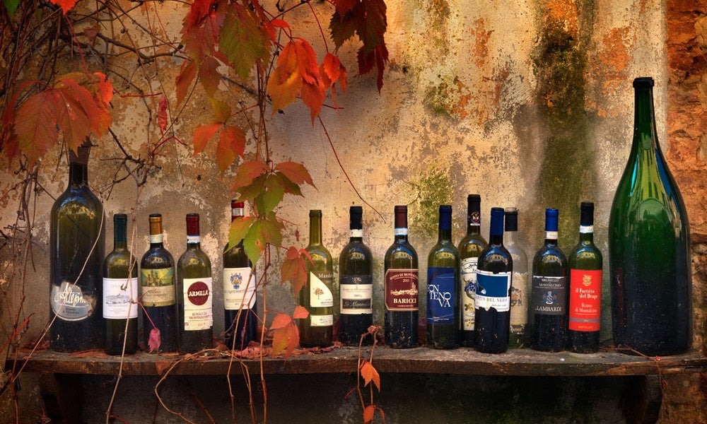 Photograph of a lineup of wine in Italy