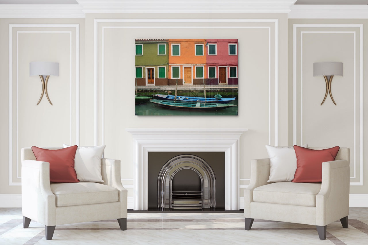 Contemporary living room with large Italy wall art