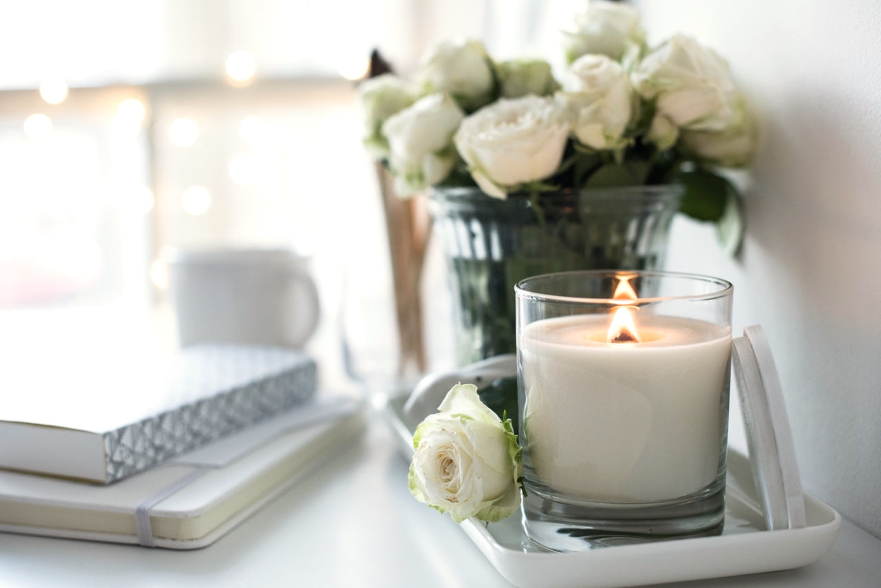 Fresh flowers and candle