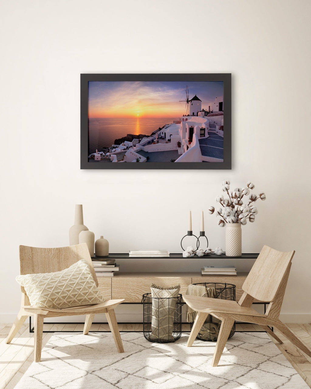 Framed Greece photo art print in living room