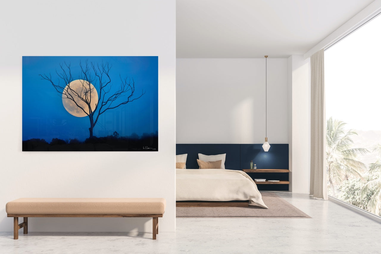 Wall art full moon in modern bedroom