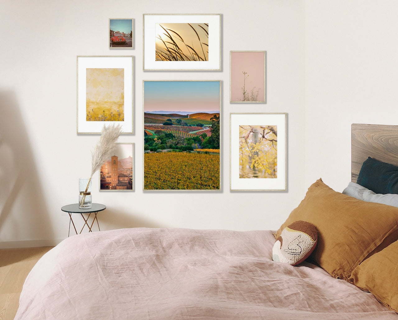 Gallery wall in bedroom