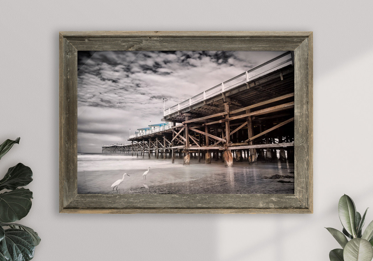 Framed beach pier art