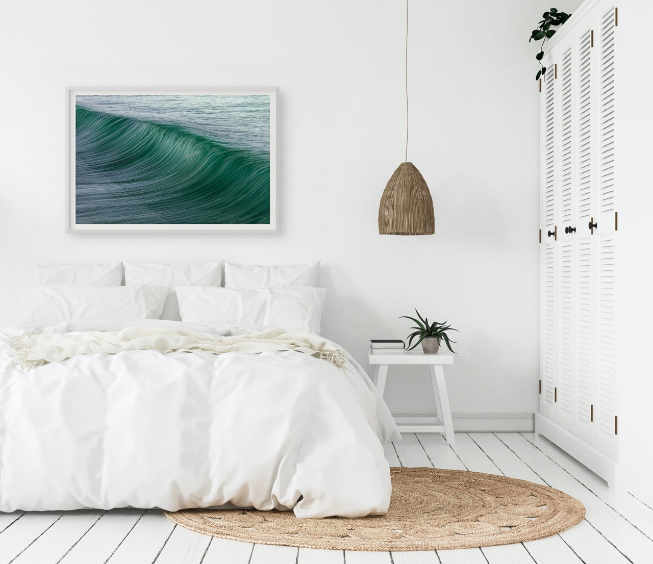 Abstract Ocean Wall Art in Bedroom