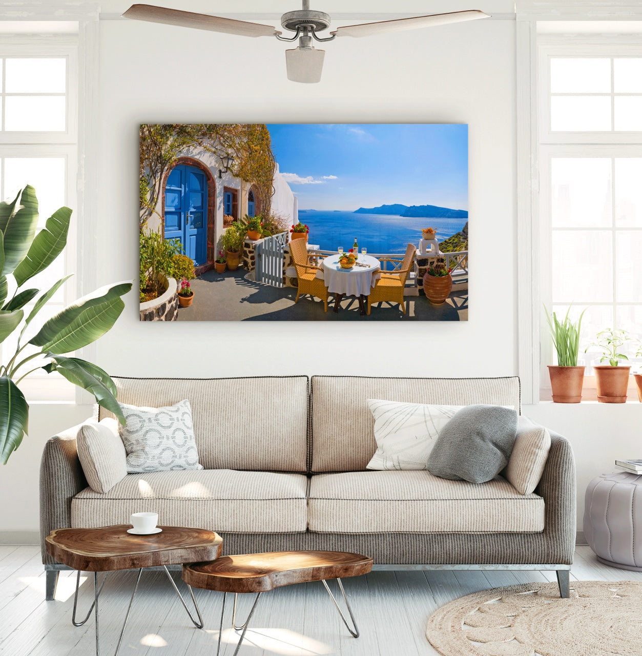 Greece fine art photography on living room wall