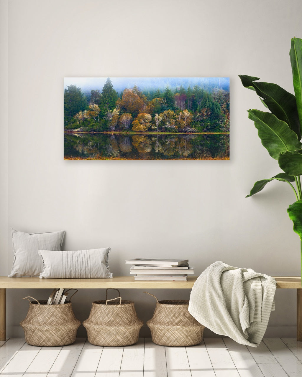 Forest wall art print in a modern entryway