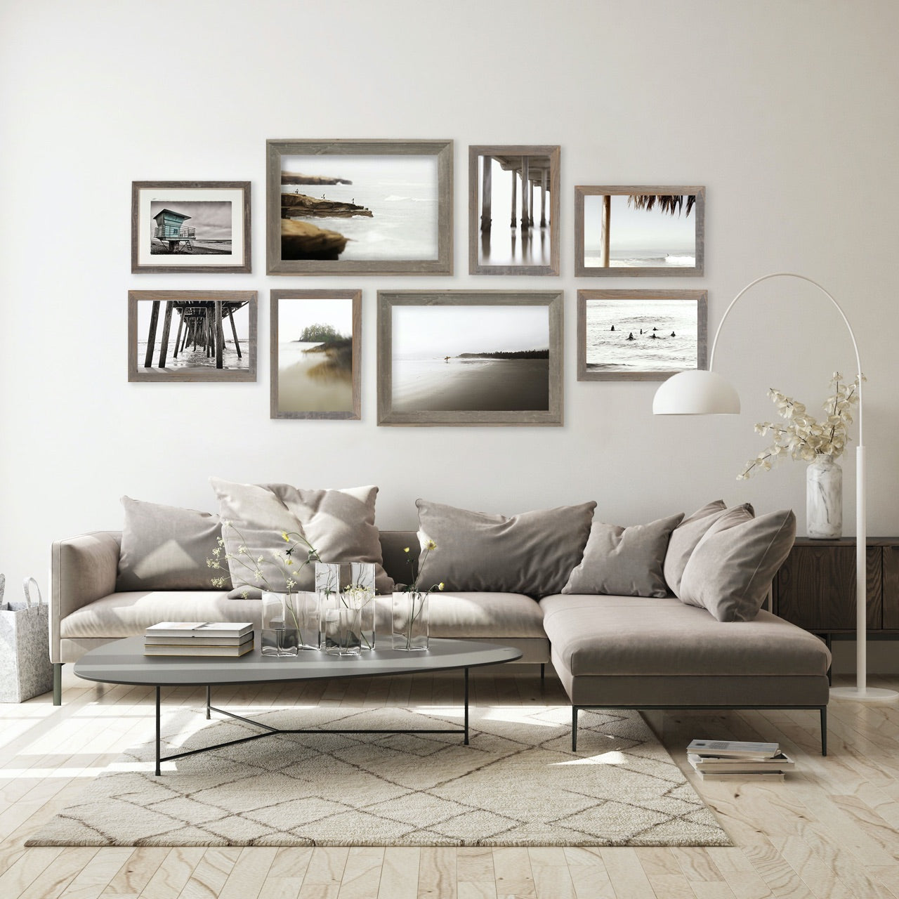 Living Room Gallery Wall with black and white framed prints