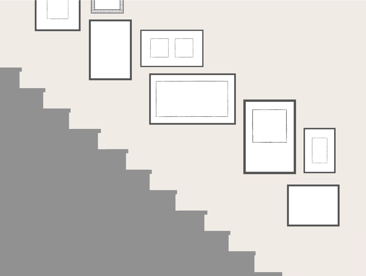 Staircase Gallery Wall Organic Layout