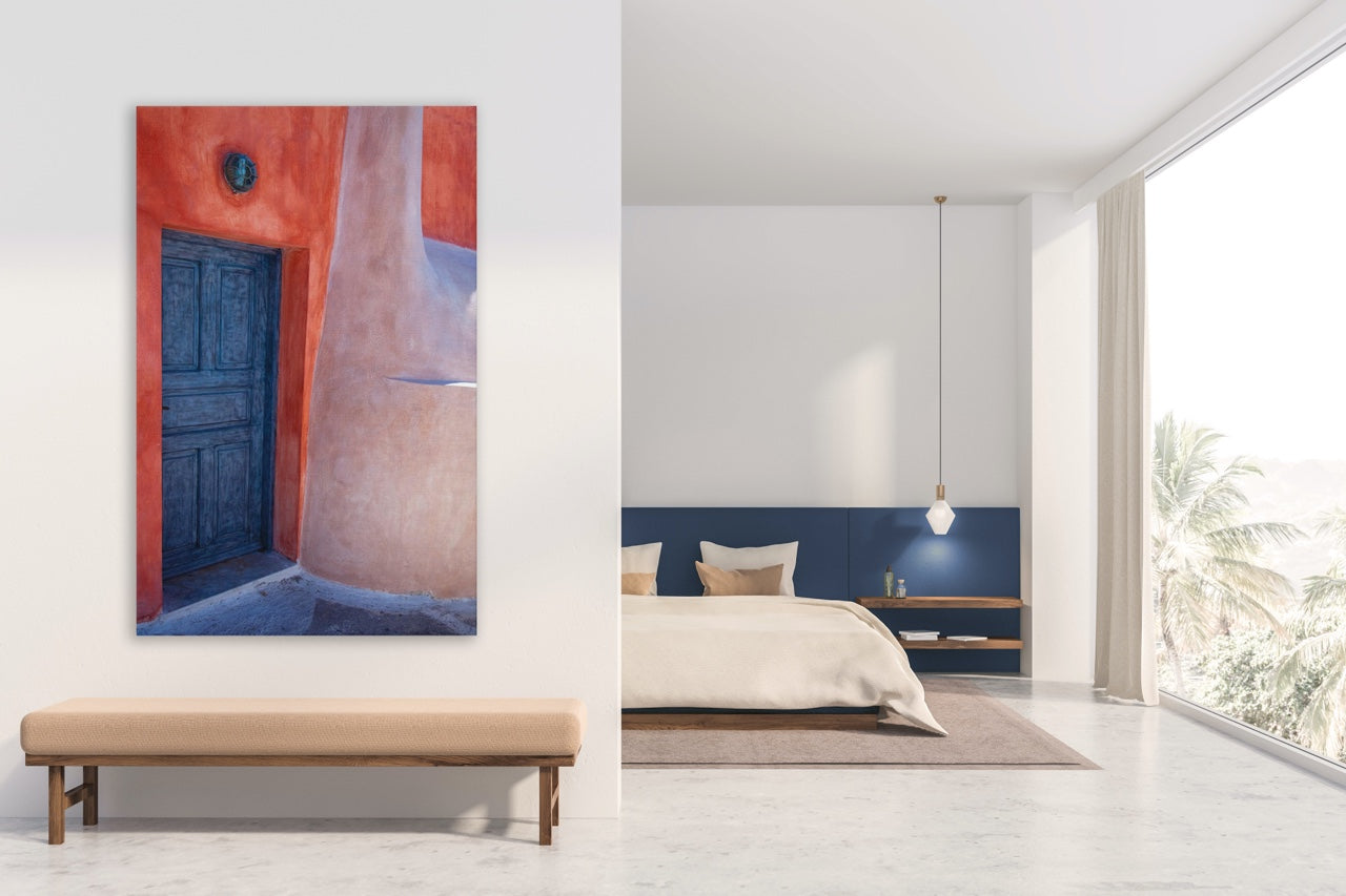 modern bedroom with abstract wall art