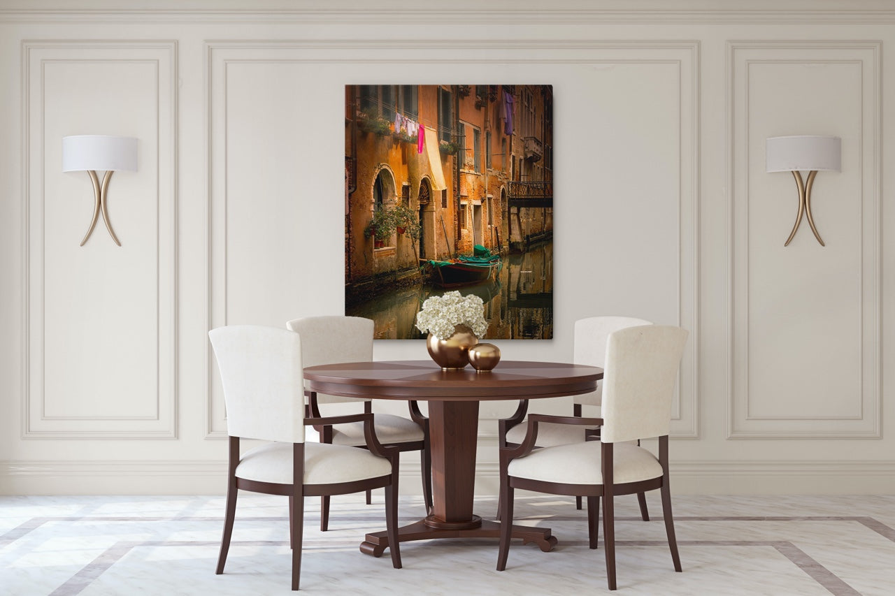 Wall art of Venice, Italy in a classic modern dining room