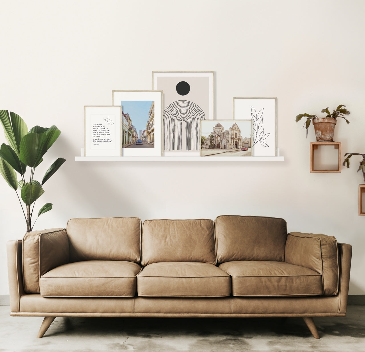 Leather sofa with picture shelf