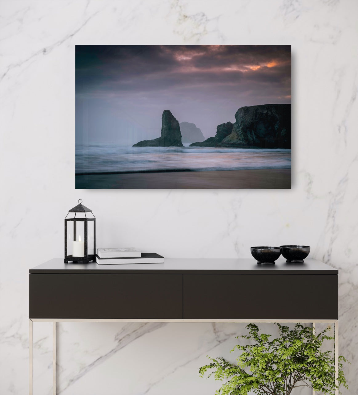 Abstract ocean wall art in entryway