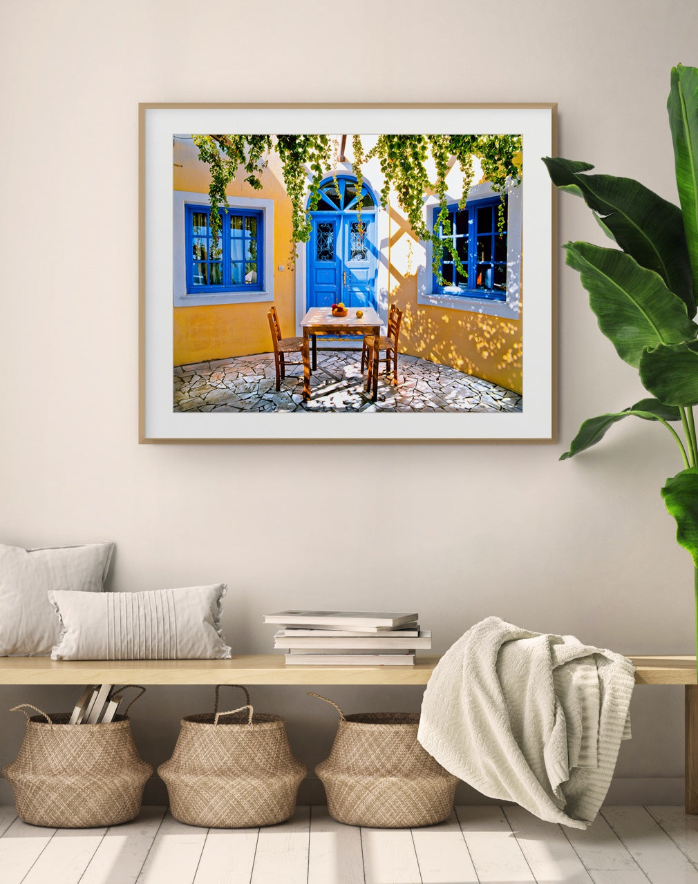 Colorful Greece photo print in entryway