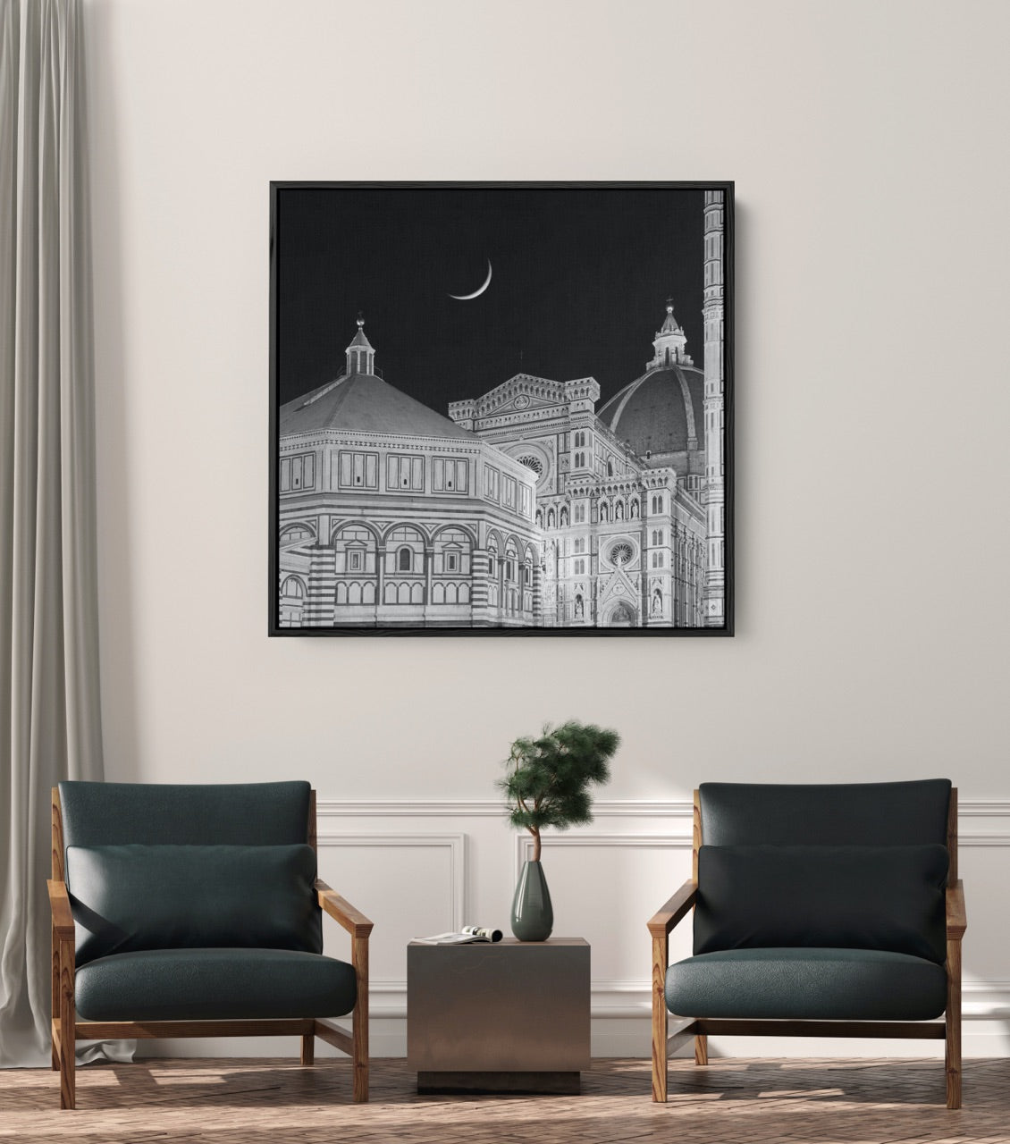 Black and white Italy photograph in a modern living room