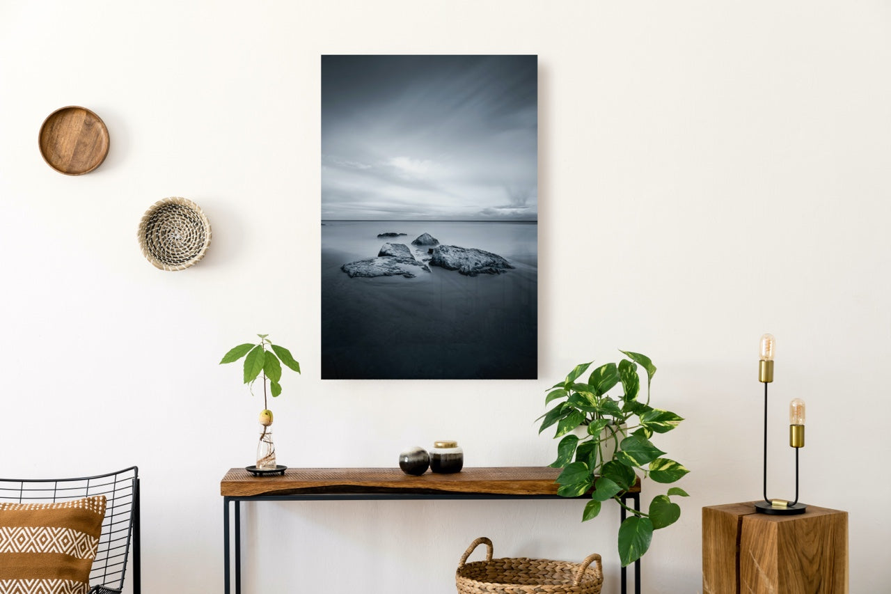 Black and white wall art over table
