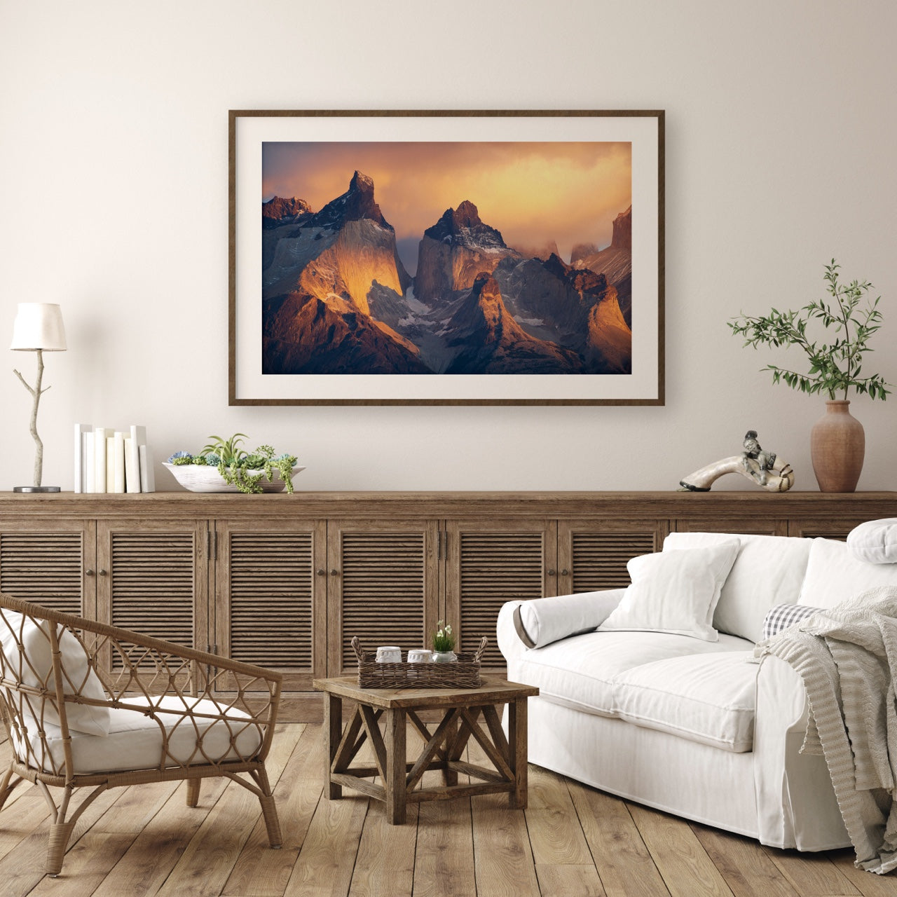 Framed mountain art in living room
