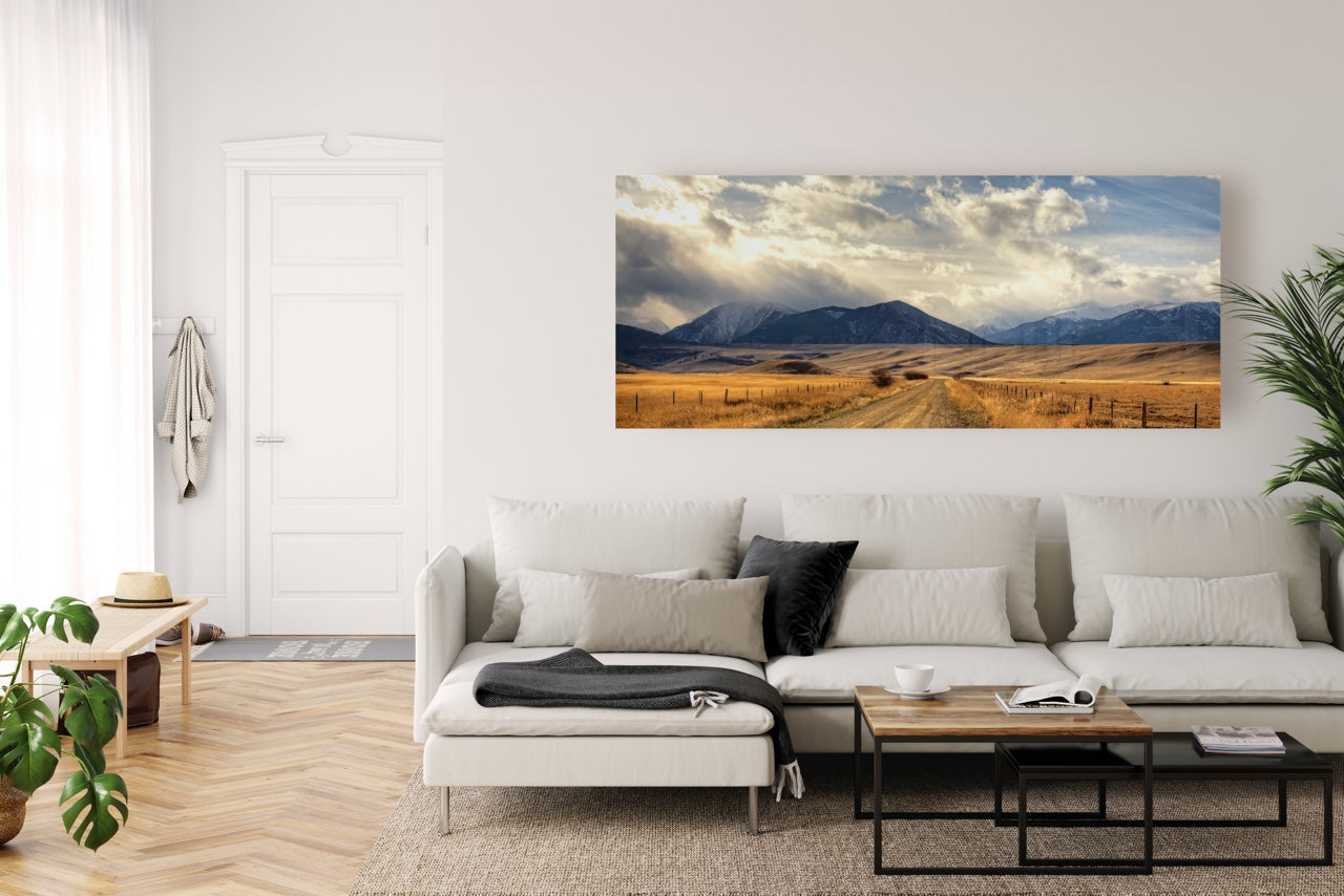Landscape Photography of mountains in living room