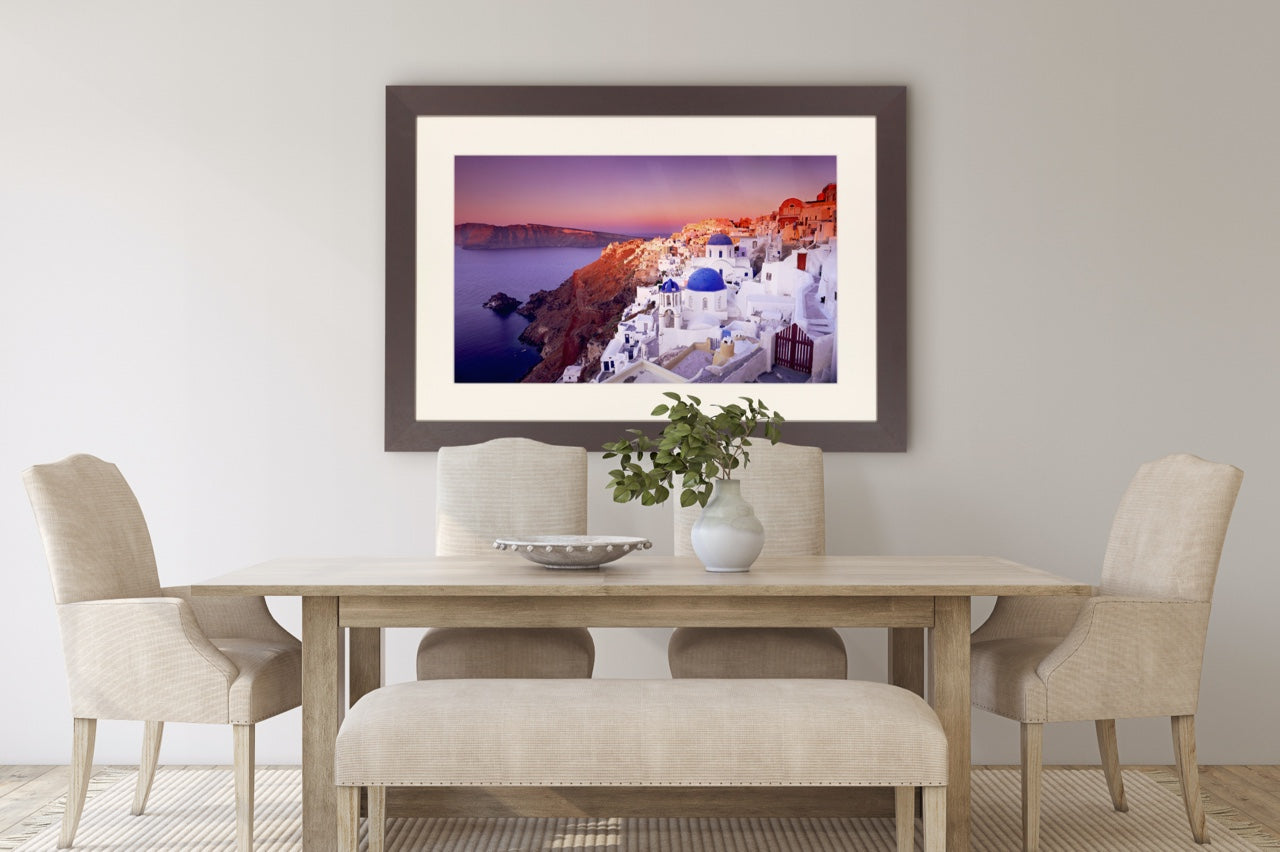 Framed Greece picture over dining room table
