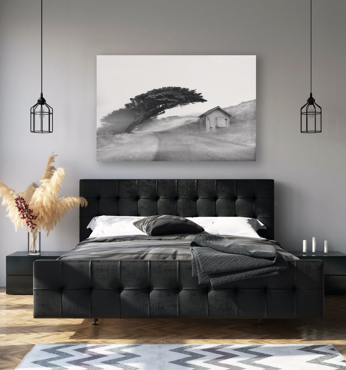 Modern black and white bedroom with black and white photo art