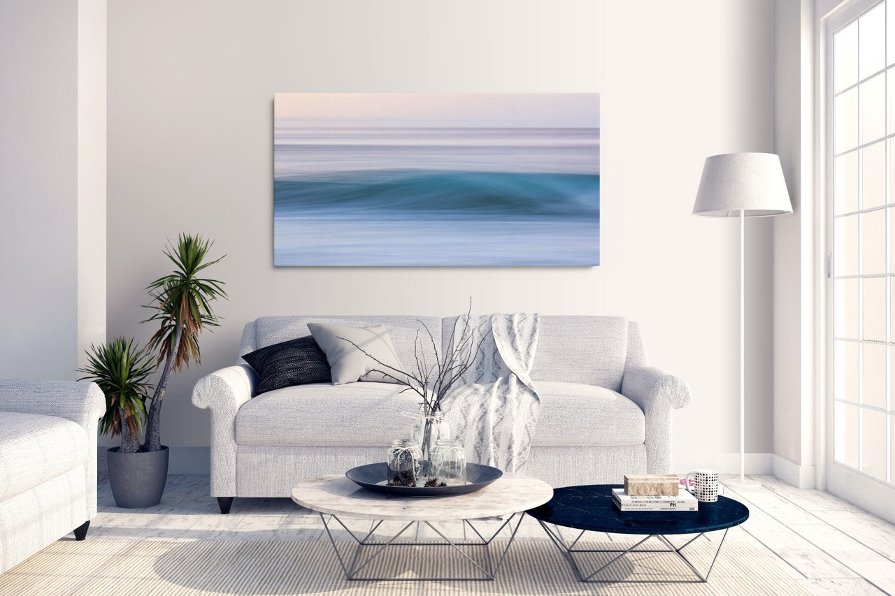 Abstract ocean canvas art in modern living room