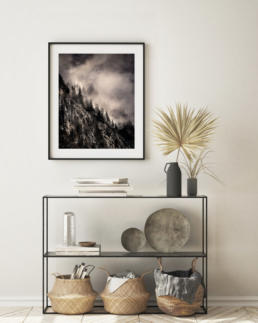 Black and white framed forest photo art