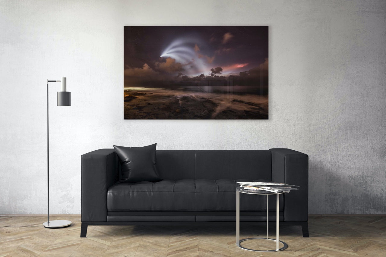 Night sky wall art in a modern living room