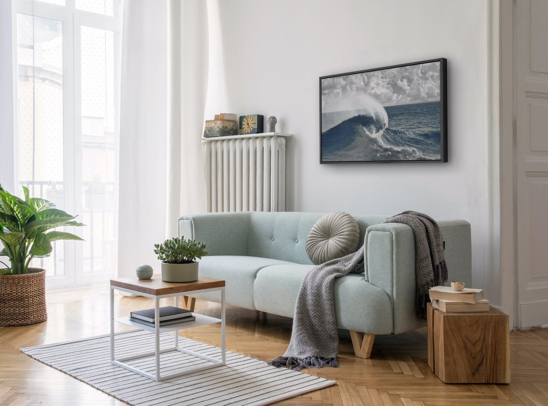 Ocean wave art in living room