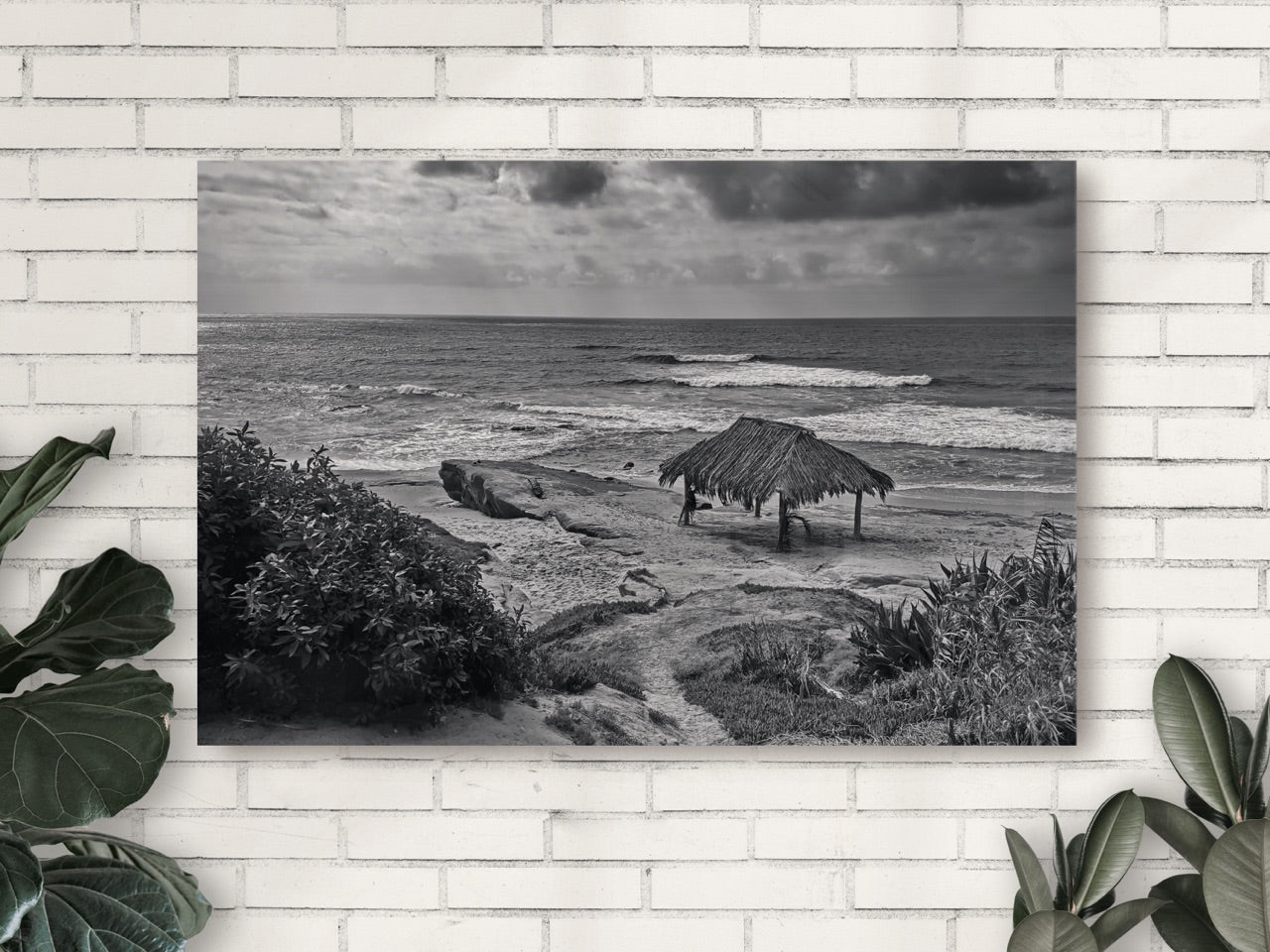 Black and white beach photo on acrylic