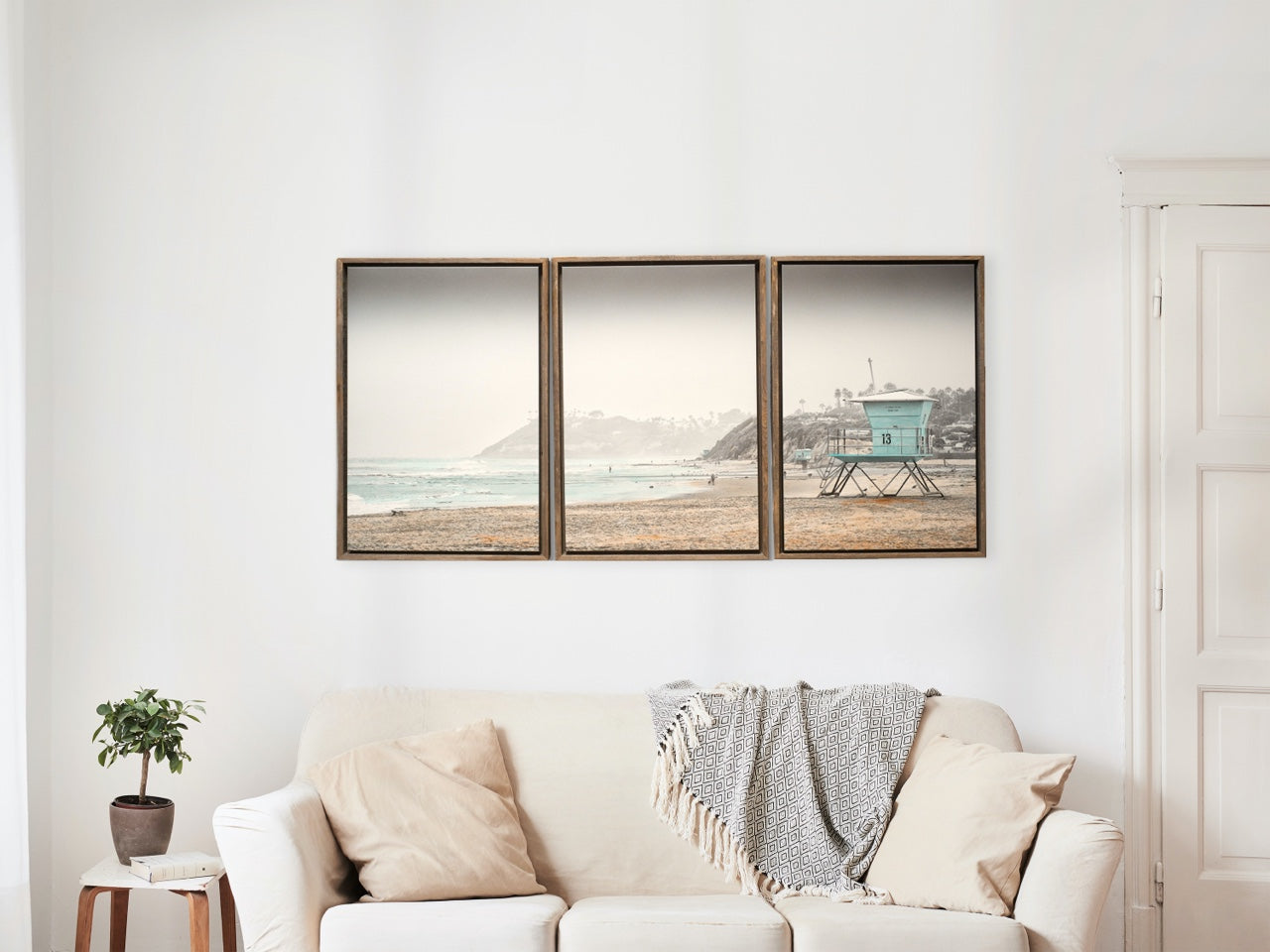 Beach Art Triptych in living room over sofa
