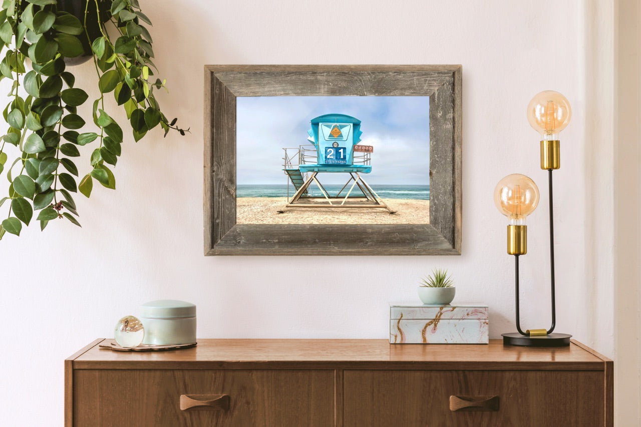 Framed lifeguard tower photograph