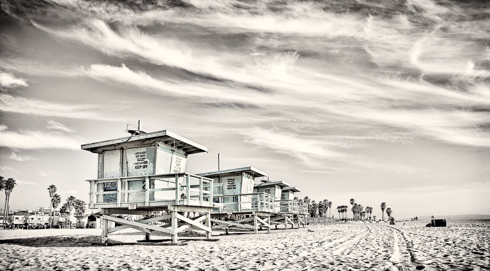 Black and White Lifeguard Towers Photo Art