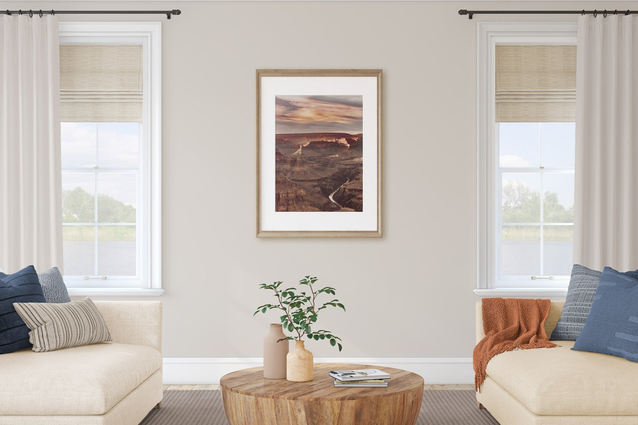 Framed Grand Canyon photograph in living room