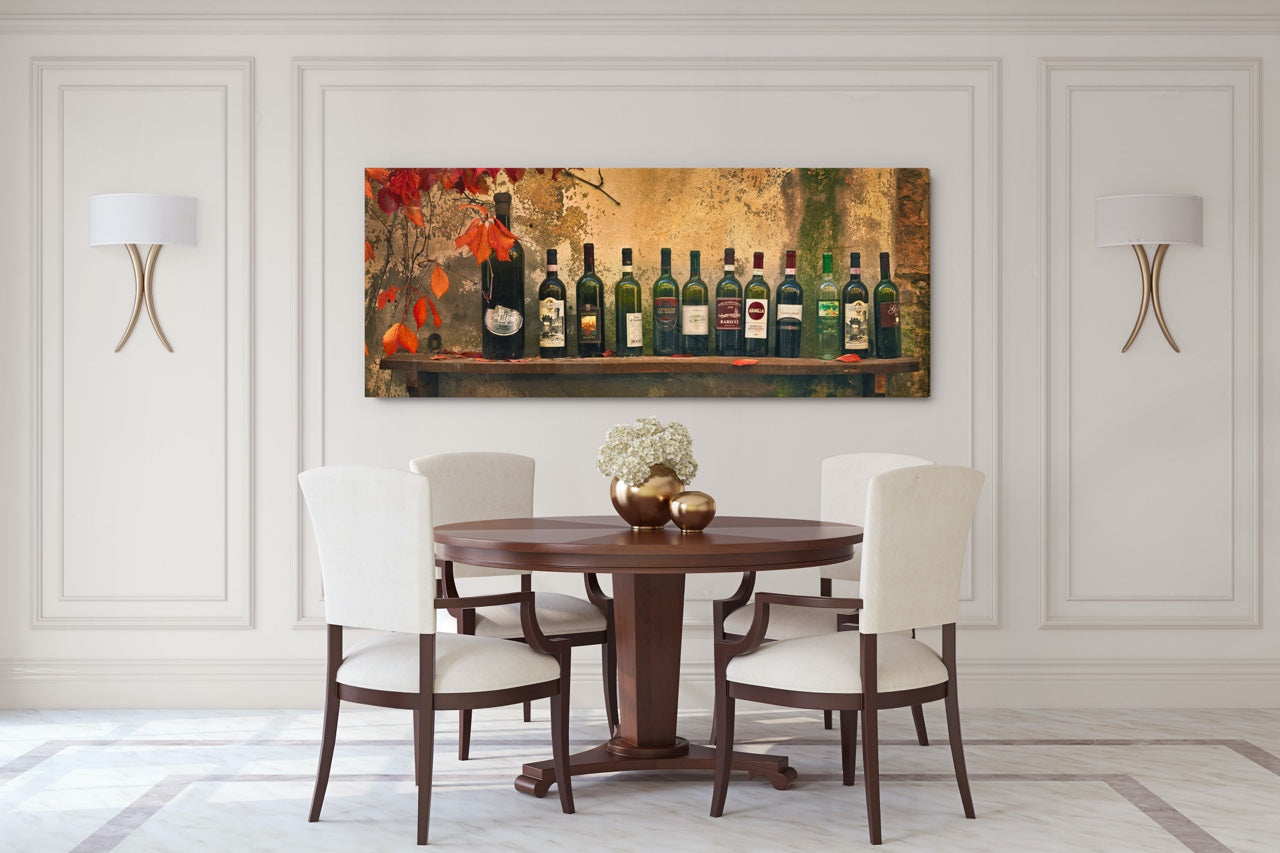 Wine Photo Art Print panorama in dining room