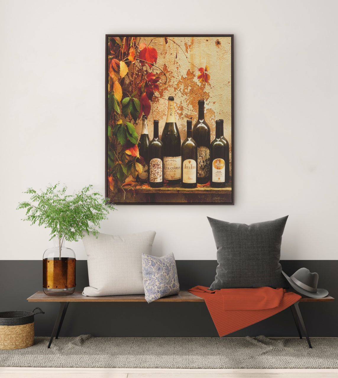 wall art with wine bottles in a modern classic home