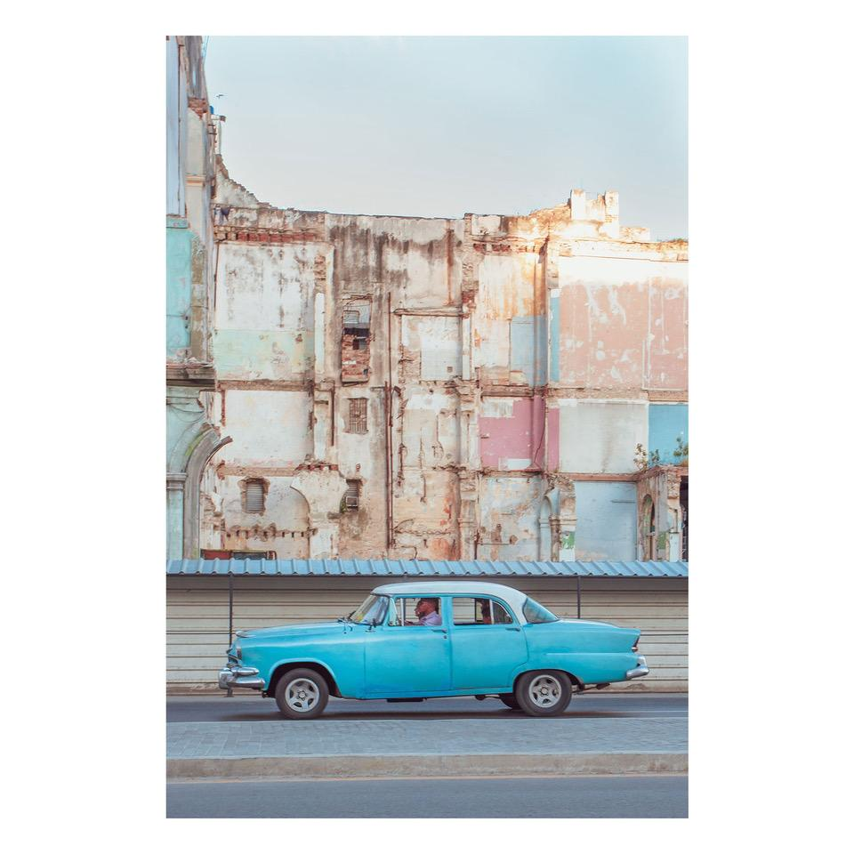 "Fine Art Prints - ""Blue Car With Pastel Wall In Havana"" 