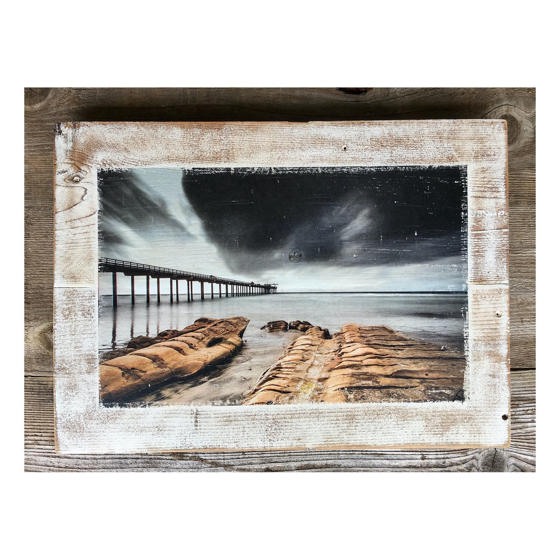 Wood Art Print - Black Clouds