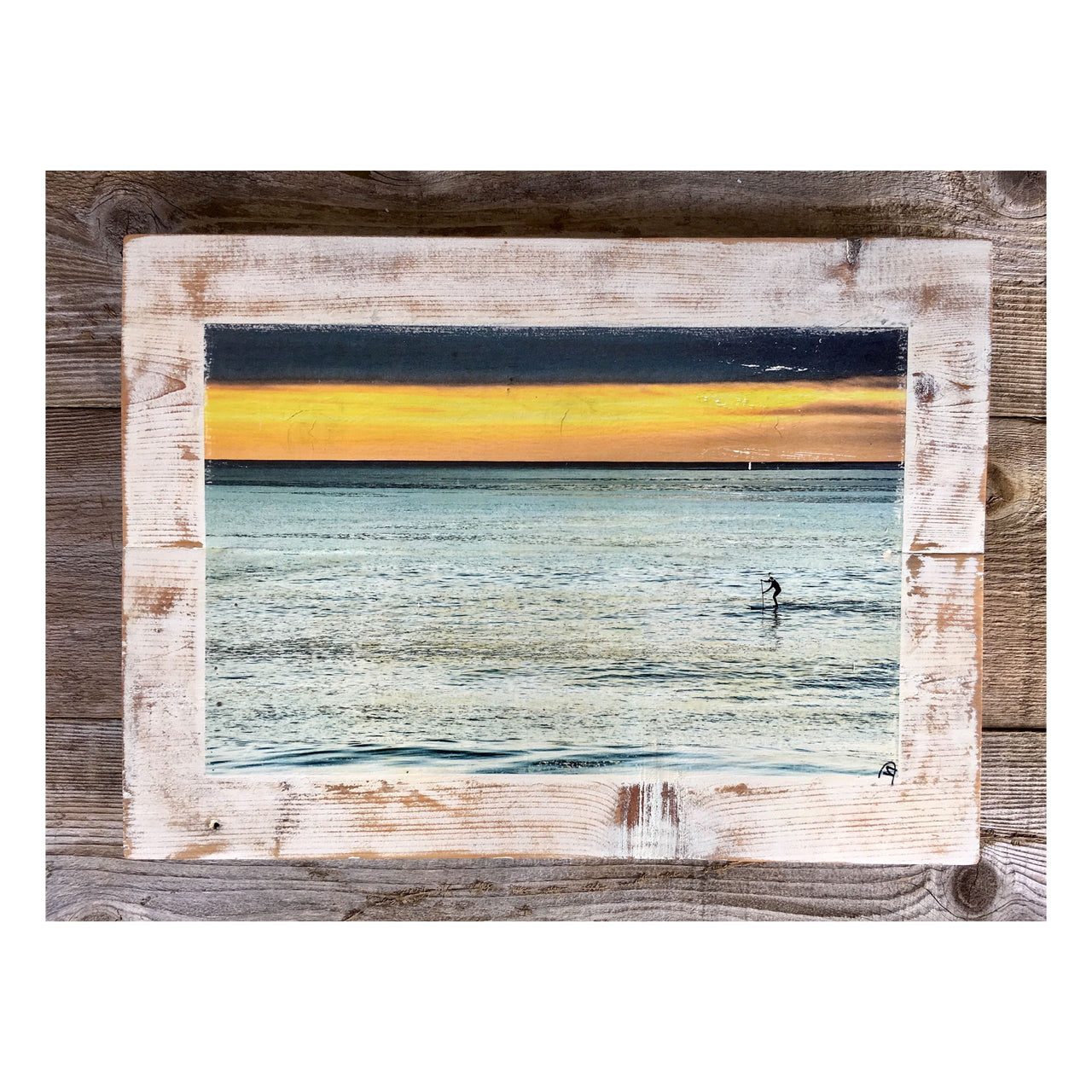 Wood Art Print - Lone Paddler