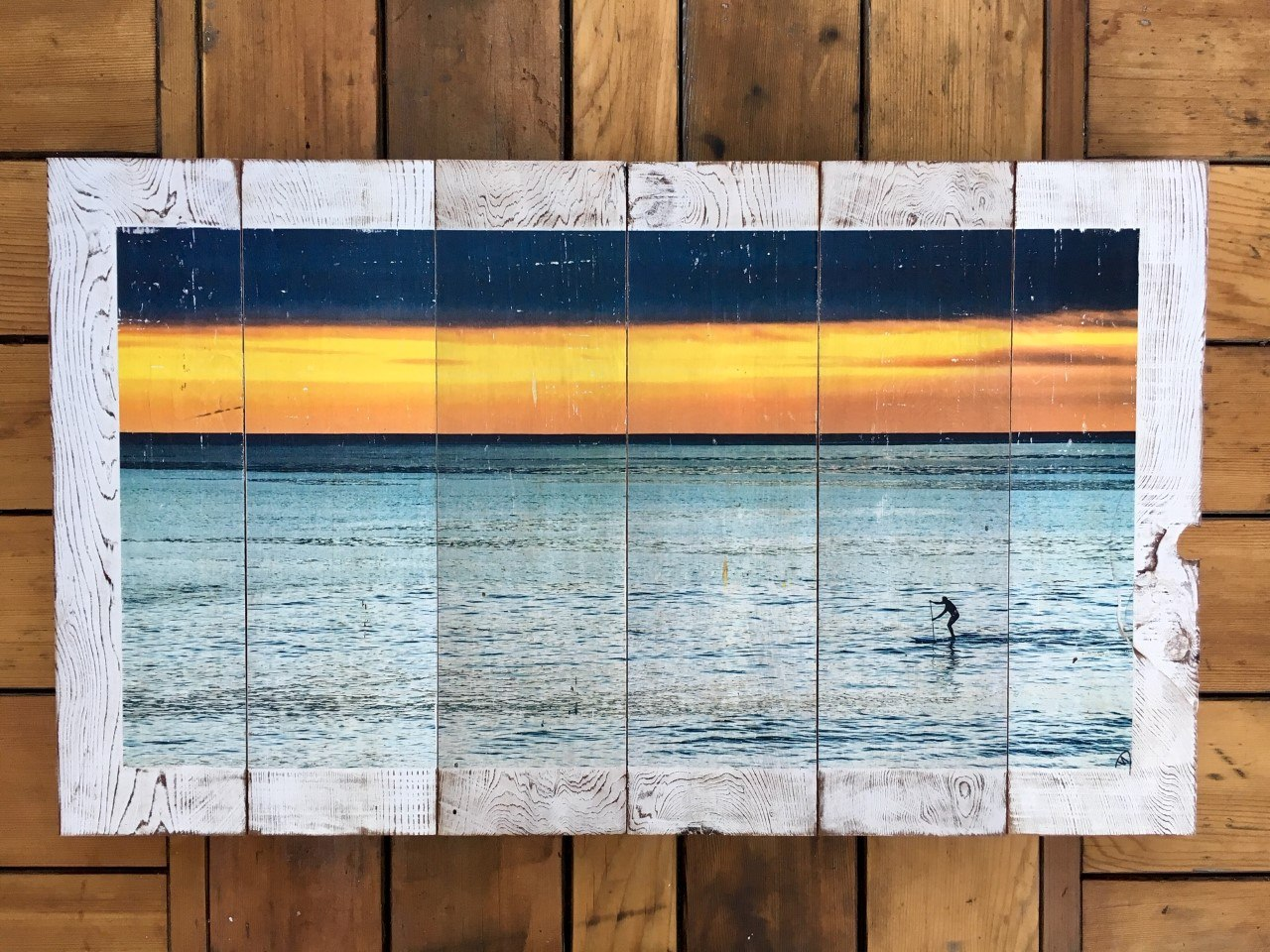 "Wood Art Print - ""Lone Paddler""