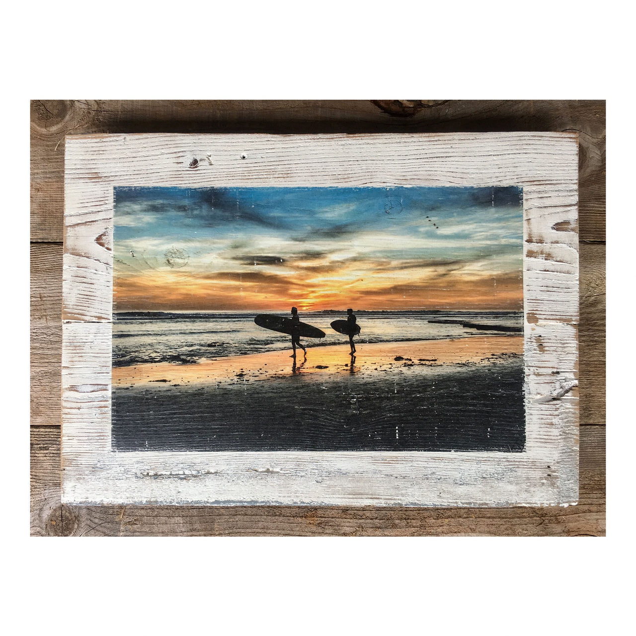 Wood Art Print - Sunset Surf