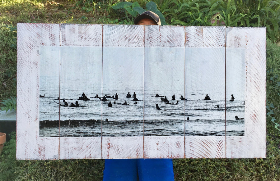 Wood Art Print - Surf Lineup