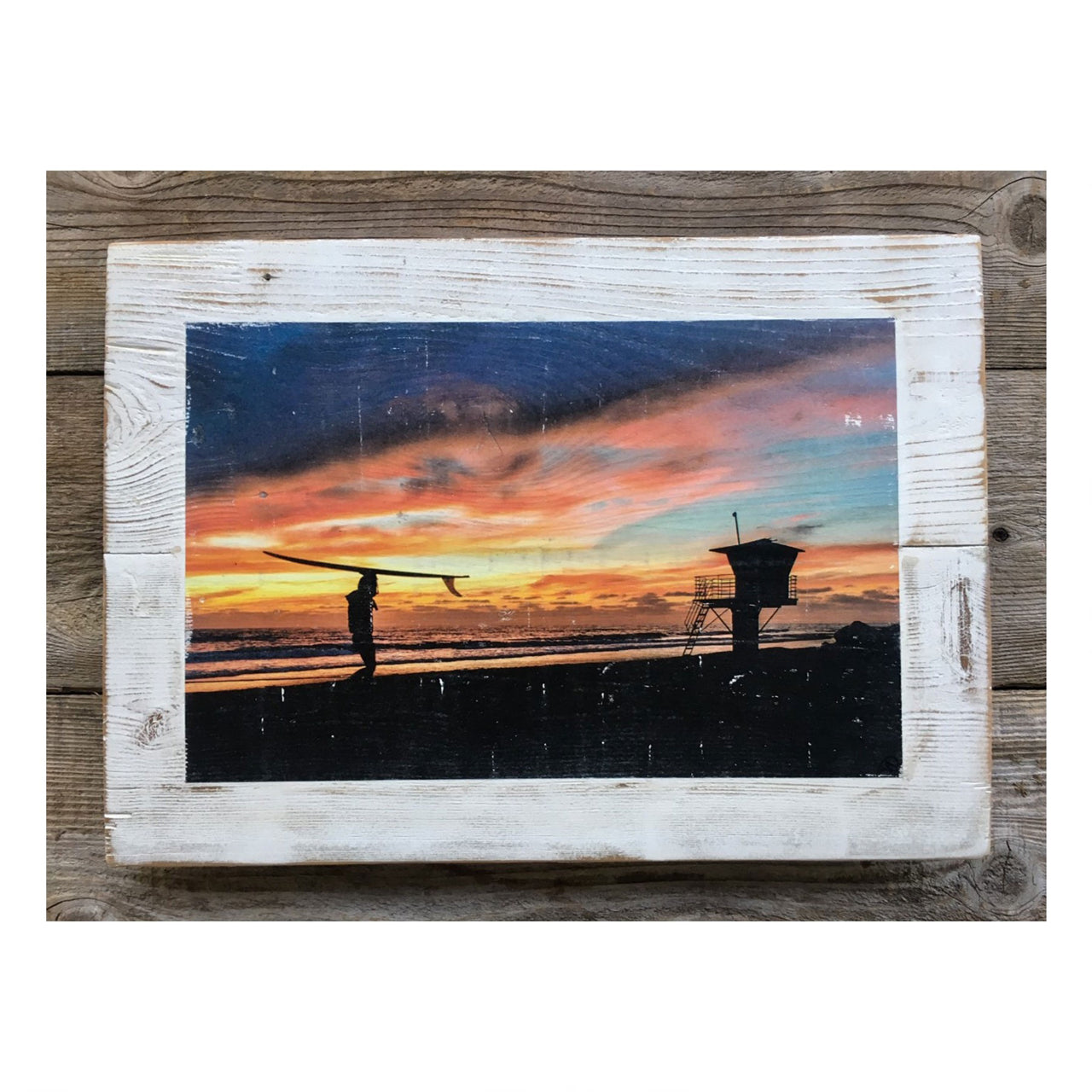 Wood Art Print - Surfer's Silhouette