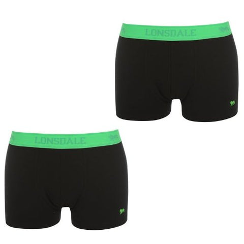 Lonsdale Pack 2 Briefs for Man Famous Brand Europe Oficial BLACK/ FL GREEN (big sizes available) (2XL)