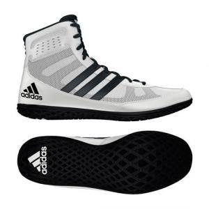 adidas Mat Wizard Youth Wrestling Shoes, White/Black, Size 1.5