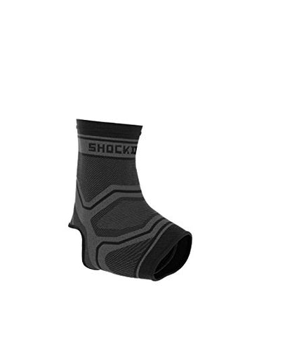 Shock Doctor Compression Knit Ankle Sleeve, Grey/Black, Adult-Medium
