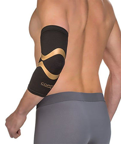 Copper Fit Pro Series Performance Compression Elbow Sleeve, Black with Copper Trim, Large