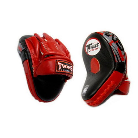 Twins Special Punching Mitts Curved PML-10 Color Black/Red Black/Yellow for Muay Thai, Boxing, Kickboxing, MMA (Black/Red)