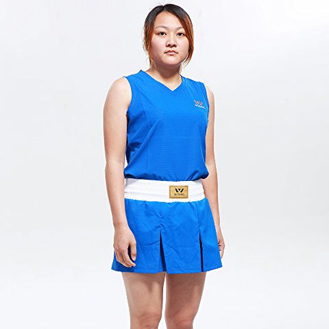 WESING Boxing Uniform Boxing Suit Boxing Set For Women (Blue, M(Skirt Style))