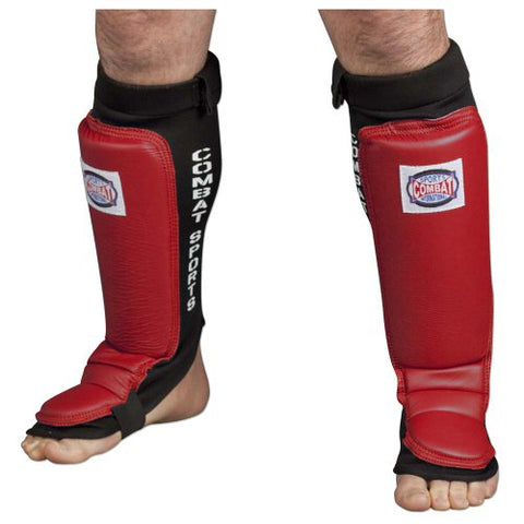 Combat Sports MMA Training Shin Guards (Red, Regular)