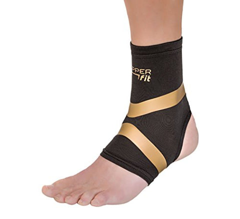 Copper Fit Pro Series Performance Compression Ankle Sleeve, Black with Copper Trim, Medium